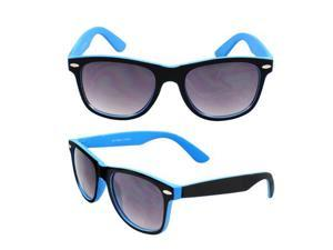 Wayfarer Fashion Sunglasses 351 Rubber Coating Black with Blue Frame Purple Black Lenses for Women and Men