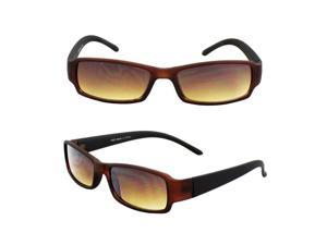 Rectangle Fashion Sunglasses Brown with Black Frame Amber Lenses for Women and Men