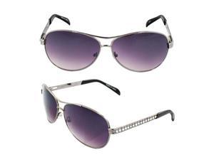 Pilot Fashion Aviator Sunglasses Silver Frame Diamond Design with Purple Black Lenses for Men and Women
