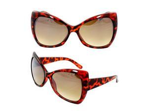 MLC Eyewear Stylish Butterfly Sunglasses Brown Leopard Frame Fashion Design with Amber Lenses for Women