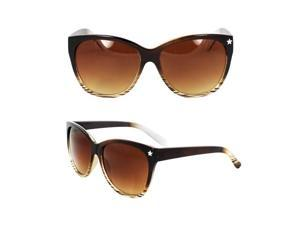 MLC Eyewear Wayfarer Fashion Fashion Sunglasses Brown and White 2tone Frame Amber Gradient Lenses for Women and Men