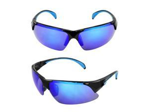 MLC Eyewear TR90 Wrap Sunglasses Black Blue 2tone Semi-Rimless Frame Blue Lenses with Comfortable Rubber Cushion Pad.
