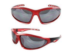 MLC Eyewear Wrap Fashion Sunglasses Red Black Frame Smoke Lenses with Comfortable Rubber Cushion Pad.