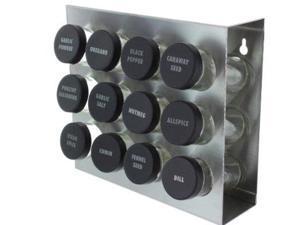 Prodyne M912 Stainless Steel Spice Rack 12Bottle Black Lid