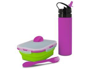 Smart Planet EC34KMSGP Collapsible Kids Meal Kit with Eco Squeez Bottle