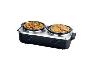 NutriChef PKBFWM26 Dual Pot Electric Slow Cooker Food Warmer / Buffet Warming Server