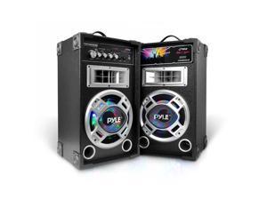 Pyle PSUFM826LED Disco Jam Dual Bookshelf Stereo Speaker System