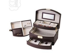 Aguchi Royalty Jewelry Collection Box with Lock (Dark Brown)