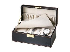Aguchi Black Modern 3-Watch Display Case with Lock and Inside Pocket