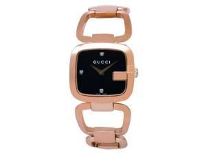 Gucci YA125409 Rose Gold Tone Stainless Steel G-Gucci Black Dial Diamond Hour Markers