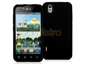 Black Silicone Rubber Gel Soft Skin Case Cover for LG Marquee / Optimus Black P970