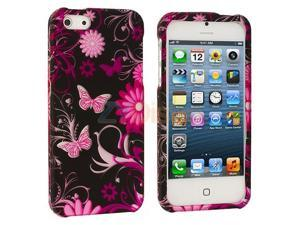 Pink Butterfly Flowers Design Crystal Hard Skin Case Cover for Apple iPhone 5 5G 5th