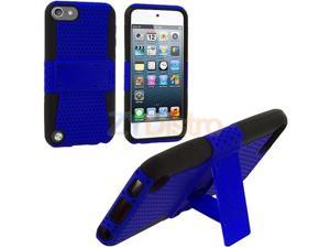 Black / Blue Hybrid Mesh Hard Silicone Case Skin Cover for Apple iPod Touch 5th Generation 5G 5