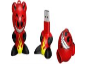 Emerson Funkeys FK609 - 1 GB USB 2.0 Sculpted Flash Drive (Red/White)