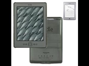 "Skque Premium 6"" Screen Protector + Crystal Snap-on Cover Case for Amazon Kindle 4 E-book Reader"