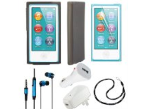 Skque Smoke Silicone Skin Case Cover + LCD Screen Protector + Blue In-ear Stereo Earphone Headset w/mic and Fishbone Holder ...
