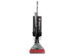 Sanitaire Commercial Lightweight Bagless Upright Vacuum, 14 lbs, Gray/Red