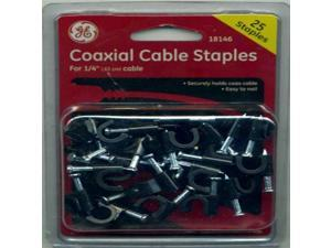 "GE Coaxial Cable 25 Staples~1/4"" Cable"