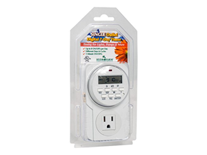 Hydrofarm 7-Day Grounded Digital Programmable Timer, 1725W, 15A, 1 Minute On/Off, 8 On/Off Cycles