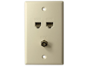 WALL PLATE 1x VOICE + 1x CAT5E + 1x CATV- ALMOND