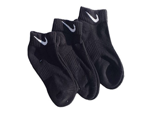 Nike Boys 3 Pairs Pack Performance Cotton Cushioned Low Cut Socks, Black, Shoe Size 3Y-5Y