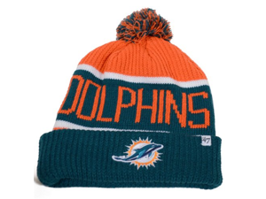 Miami Dolphins 47 Brand Calgary Knit Hat - Orange and Teal