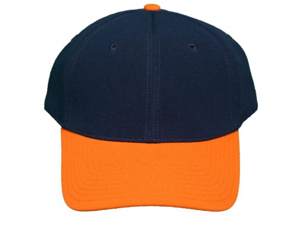 NEW! Blank Pro-Flex Stretch-Fit Cap - Navy/Orange - Self Embroidery/Screening