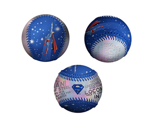 Superman Logo Faster Than The Speed Of Light DC Comics Blue & Silver Baseball
