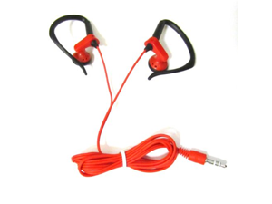 Red Stereo Headphones 3.5mm with Black Ear Hooks for Motorola Atrix 2 3 HD Droid 3 4 Bionic Pro XT610 Razr M Maxx HD Mini Ultra Pro LTE Photon Q Moto X Mobile Phone Touch Screen Smartphone In-Ear Head