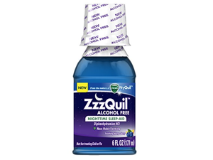 ZzzQuil Nighttime Sleep Aid, Diphenhydramine HCl, Alcohol Free Soothing Mango Berry Flavor Liquid, 6 Oz