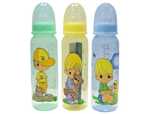 Precious Moments Angel Boys 8 Ounce Bottles, 3 Pack - Colors May Vary by Luv N Care