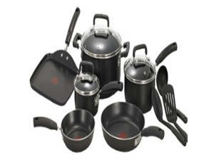 T-fal C111SC Signature Nonstick Thermo-Spot Heat Indicator Cookware Set, 12-Piece, Black