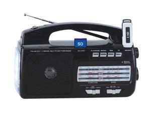 Portable Mini AM FM MP3 4 Bands Weather Radio w/USB & SD Input & Torch Light