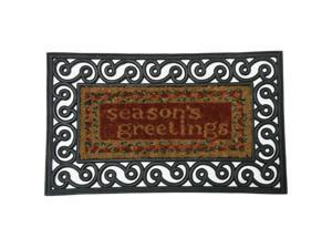"""Season's Greetings Outdoor Rubber Doormat - 18"""" x 30"""" Coir Door Mat - OEM"""
