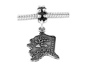 Sterling Silver State of Alaska Map Dangle Bead Charm