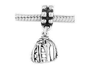 Sterling Silver Baseball / Softball Glove Dangle Bead Charm