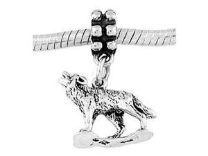 Sterling Silver Howling Wolf Dangle Bead Charm