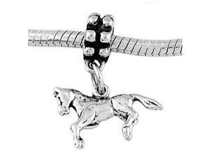 Sterling Silver Prancing Horse Dangle Bead Charm