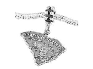 Sterling Silver State of South Carolina Dangle Bead Charm