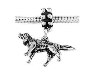 Sterling Silver Irish Setter Dog Dangle Bead Charm