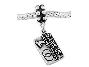 Sterling Silver One Sided Bank Credit Card Dangle Bead Charm