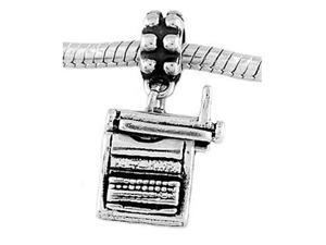 Sterling Silver Three Dimensional Typewriter Dangle Bead Charm