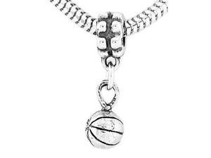 Sterling Silver Basketball Dangle Bead Charm