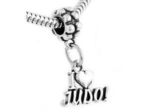 Sterling Silver I Love Judo Dangle Bead Charm