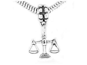 Sterling Silver Scales of Justice Silver Dangle Bead Charm