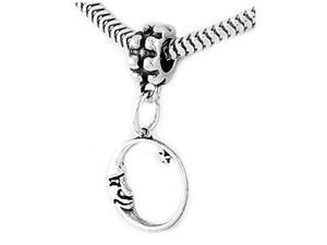 Sterling Silver Crescent Moon Face with Star Dangle Bead Charm