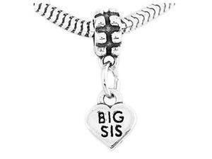 Sterling Silver Big Sis Heart Dangle Bead Charm