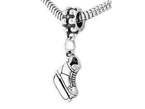 Sterling Silver Hockey Ice Skate Dangle Bead Charm