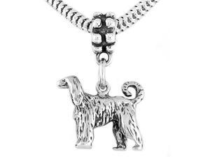Sterling Silver Afghan Hound Dog Dangle Bead Charm