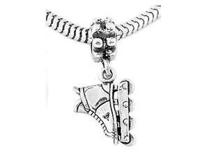 Sterling Silver Roller Blade Inline Skate Dangle Bead Charm